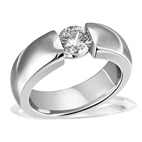 Goldmaid Damen-Ring Solitärring 925 Silber rhodiniert Zirkonia weiß Brillantschliff Gr. 58 (18.5) - Zi R6953S58 Schmuck
