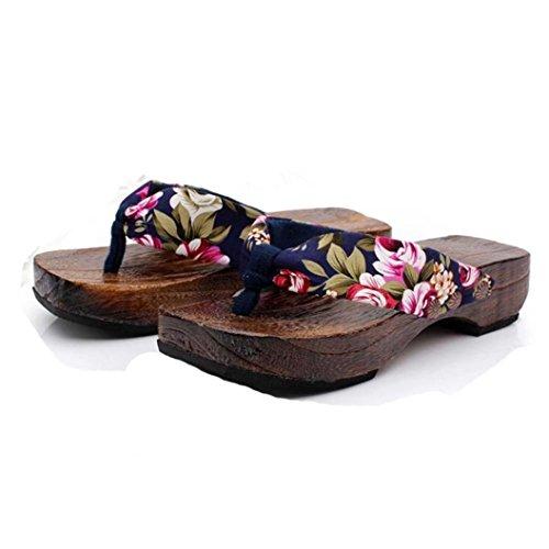 Blaue Blume-clogs (Damen Sandalen Ronamick Sommer-Plattform Schuhe Holz Damen Sandalen Clog Holz schuhe Flip Flops (37, Blau))