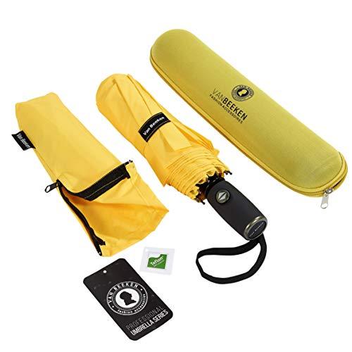 Regenschirm Taschenschirm VAN BEEKEN – windtest bei 140 km/h – inkl. Schirm-Tasche & Reise-Etui – mit Teflon-Beschichtung u. Auf-Zu-Automatik – kompakt, leicht, klein, stabil u. windsicher, Gelb