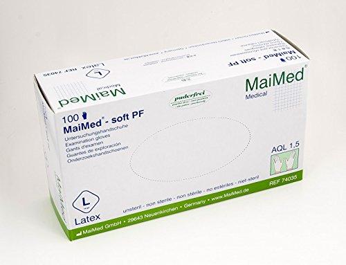 100 Latex Untersuchungshandschuhe MaiMed soft PF puderfrei Einmalhandschuhe Gr. S-XL, Größen_1:L