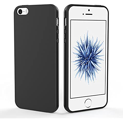 iPhone SE 5S 5 Custodia in TPU Nero Opaco, EasyAcc iPhone SE 5S 5 morbido TPU Custodia Cover Slim anti scivolo custodia protezione posteriore Cover antiurto per iPhone SE 5S 5