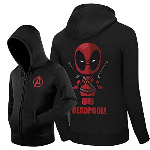 T.M.R.W. Clothing Herbst Und Winter Plus Samt Pullover Herren Zipper Pullover Dead Pool Print Marvel Hero Unisex Sweatshirt A-S -