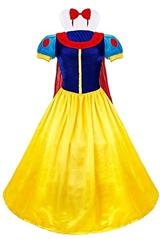 TiaoBug Femme Set de Déguisement Princesse Blanche Neige Halloween Cosplay