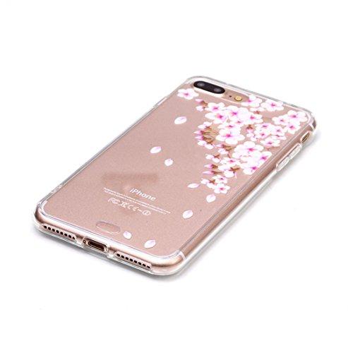 iPhone 7 Plus Transparente Etui, iPhone 7 Plus Coque, Très Mince Fine Souple Flexible TPU Gel Silicone Anti-rayures Anti Choc Case pour Apple iPhone 7 Plus 5.5 inch - Plumage Windbell Motif color-5