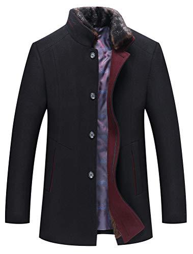 Mallimoda Herren Mantel Slim Fit Wolljacke Übergröße Business Windbreaker Lange Trenchcoat Jacken (XL, Dick Schwarz)
