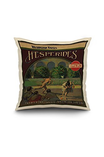 Hesperides Brand - San Dimas, California - Citrus Crate Label (18x18 Spun Polyester Pillow Case, White Border)