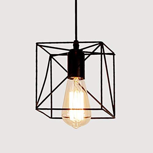 WSYYWD Lámpara de jaula de hierro Lámpara colgante Simple Retro Simple 9 Estilo Lámpara de techo ajustable Pantalla de interior de metal negro f