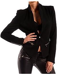 d957a5331dc3e2 Young-Fashion Damen Blazer Zipper Asymmetrisch Taillierter Kurzblazer  Freizeit Jacke