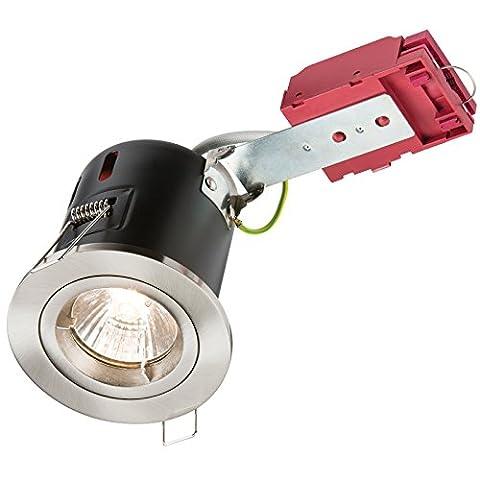 Knightsbridge VFAVRDGICCBR Fixed IC Fire-Rated Downlight Metal, Chrome, GU10, 50 W, 230 V
