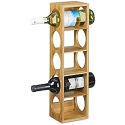 Relaxdays Étagère à vin en bambou HxlxP: 53 x 14 x 12 cm 5 emplacements range-bouteilles 5 étages casier à vin en bois porte-bouteilles 5 niveaux horizontal, nature