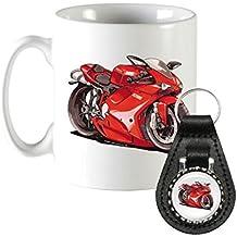 k2576-mk Regalos Cartoon Ducati 1098de Koolart Moto Set de regalo de taza y llavero de piel
