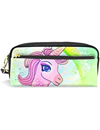 Estuche para lápices de gran capacidad con diseño de unicornio y arcoíris, bolsa de papelería
