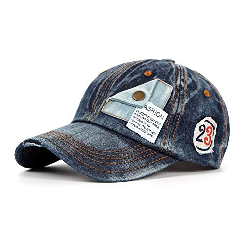 Blauer Strand Baseball Cap Herrenmütze Fashion Washed Cotton Baseball Cap Vintage Baseball Cap Herren Motorrad Einfassung Old Hat (Farbe : Navy Blue, Größe : 56-60CM) -