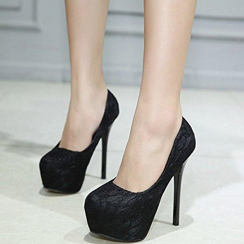 GTVERNH-in primavera e in autunno le scarpe nere round - super sera con le scarpe scarpe sexy,39 Thirty-nine