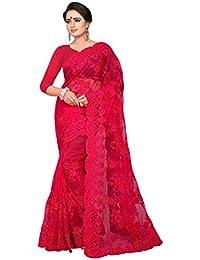 0300304904b Ankit Fashions Women s Resham Embroidery With Ceramic Stone Work Net Saree  in Fuchsia Pink