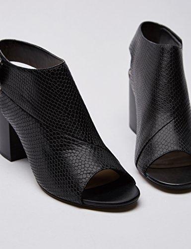 FIND Scarpe con Apertura su Punta e Tallone Donna Nero Opaco (Black)