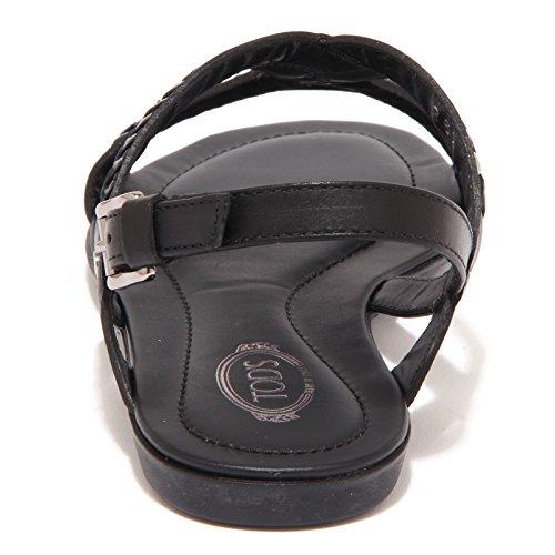 15651 sandalo TOD'S LEGG.OV INFR. RICAMO nero scarpe donna shoe women Nero