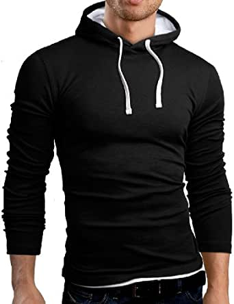 Grin&Bear Sweat à capuche Polo Tee shirt T-Shirt manches longues, taille XL, noir