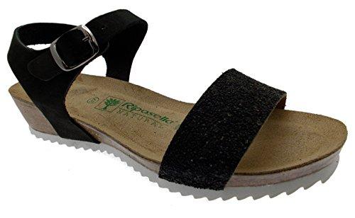 sandalo donna nero aperto perline zeppa comodo art 19616 41 nero