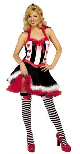 Queen of Hearts weiblich Kostüm & Zubehör–Large (UK (Schwarz Adam Uk Kostüm)