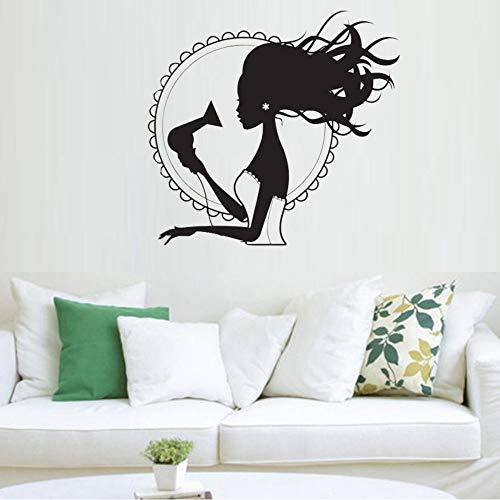 Cyalla Haartrockner Stylist Vinyl Wandaufkleber Für Schönheitssalon Frau Barbershop Dekoration Wandtattoos Für Mädchen Klebstoff Kunstwand 57 * 63 Cm (Haartrockner Disney)