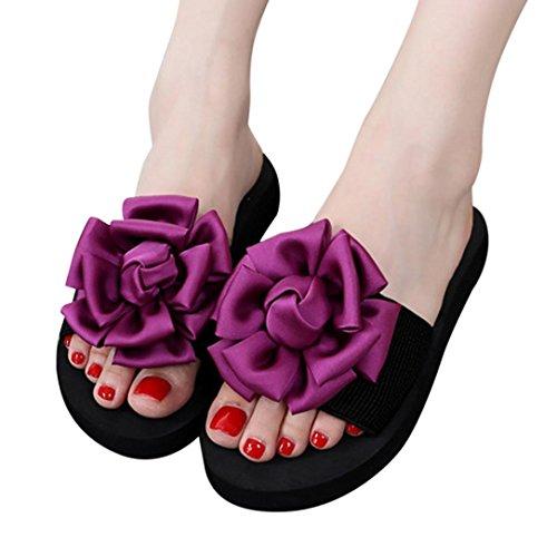 Dick Flip-Flops Damen,DoraMe Frauen Blumen Sandalen Sommer Neue Pantoletten Indoor Outdoor Slipper Casual Strand Schuhe Flache Clogs (EU:39/CN:40, Rot)