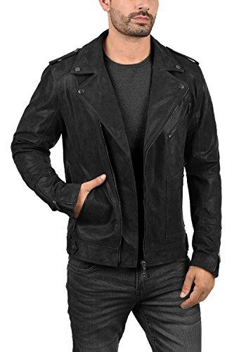 SOLID Mash Herren Lederjacke Echtleder Bikerjacke mit zahlreichen Metall-Details aus 100% Leder, Größe:L, Farbe:Black (9000) - 3