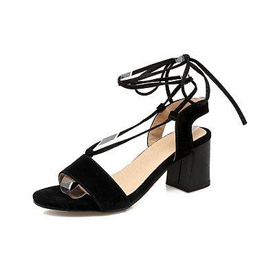Sandali Primavera Estate Autunno cinturino alla caviglia vello Office & carriera parte & abito da sera Chunky Heel Lace-up Black