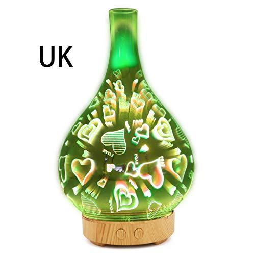 Watermk 3D Glas Feuerwerk Nachtlicht Ultraschall Ätherisches Öl Diffusor Aroma Aromatherapie Feinnebel Luftbefeuchter Anti Slip Base Room Car Decor