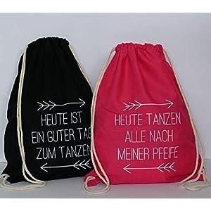 Set aus 5 Turnbeutel JGA Rucksack für Junggesellenabschied; 1 Brautbeutel und 4 Beutel für die Mädels, sw/pink