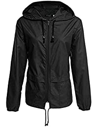 Yying Chaquetas para Mujeres Hombres Casual Chaqueta Ligera Sólida Lluvia Impermeable Impermeable con Capucha