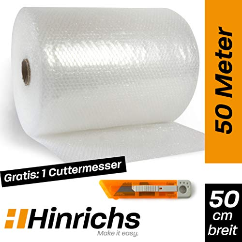 Hinrichs Luftpolsterfolie 50m - Bubble Wrap zum Verpacken - Verpackungsmaterial für empfindliche Objekte - Noppenfolie plus Cuttermesser - Polstermaterial für Umzug und Versand