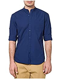 Urbano Fashion Men's Blue Solid Casual Shirt