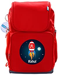 UniQBees Personalised School Bag With Name (Active Kids Medium School Backpack-Red-Red Rocket)