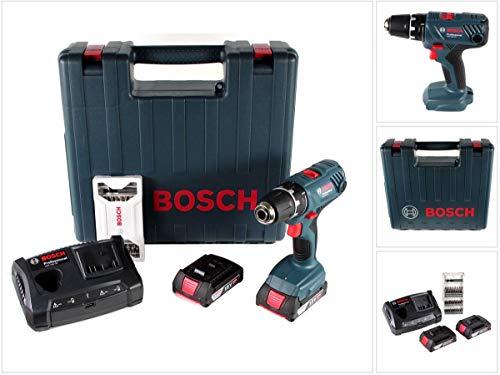 Bosch Professional GSR 18V-21 Bohrschrauber mit 2x GBA 2,0 Ah Akku + GAX 18V-30 Ladegerät + 25 tlg. Bit-Set im Koffer (06019H1070)