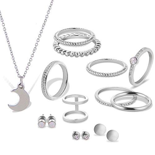 Gosear 15 Stk Frauen Halskette Stud Ohrringe Und Knuckle Ringe Set 8 Gemeinsame Nagel MIDI Ringe 3 Paare Stud Ohrringe 1 Halskette für Jahrestag Partei Dating Hochzeit Silber
