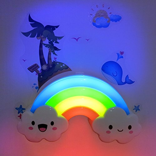 LED Rainbow Colorful Smiley Face Cloud Night Light Voice&Light Control Decorative Lights Baby Bedside Lamp Children Present/Toy