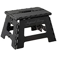 "Inspired Living Folding Step Stool Heavy Duty 9"" High ME9359-BLKGR"