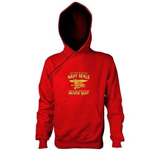 Motivator Kostüm Herr (TEXLAB - Navy Seals Never Quit - Herren Kapuzenpullover, Größe XXL,)