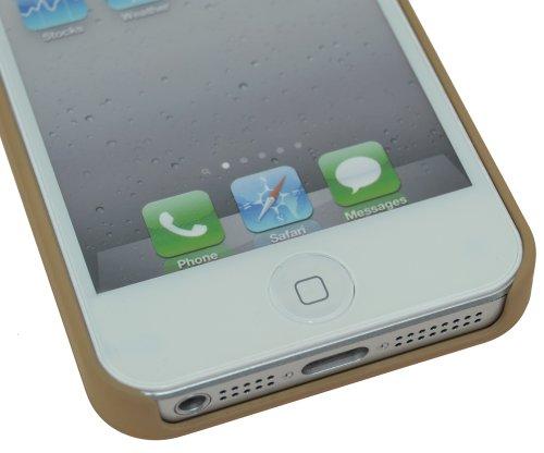 SunCase étui en cuir-coque (® coque de protection pour apple iPhone 5/5S Vollnarbig-Beige