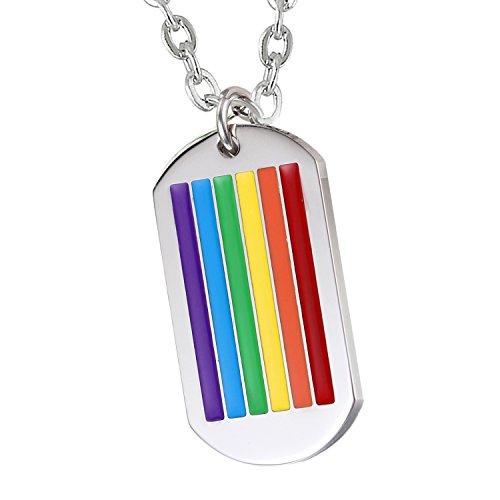 Cupimatch Herren Edelstahl Halskette, Homosexuell LGBT Gay & Lesbian Pride Dog Tag Anhänger Hochglanz Poliert mit 55cm Kette, silber regenbogen (Regenbogen-halskette)