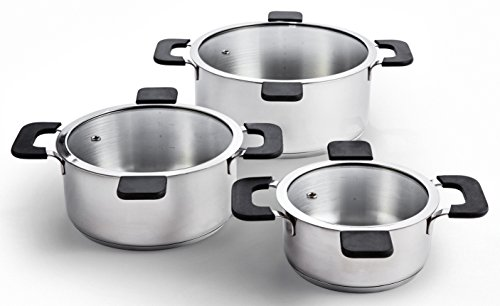 Ozeri ZP16-3P Multi-Size 6-Piece Inductive Pot Set, Stainless Steel