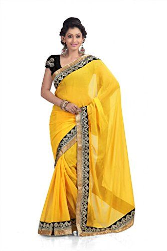 Chirag Sarees Chiffon Lace Saree (Yellow) -298-E