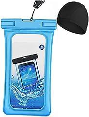 Universal Waterproof Pouch, [Fingerprint Identification+Swim Cap] IPX8 Waterproof Cellphone Dry Bag Underwater