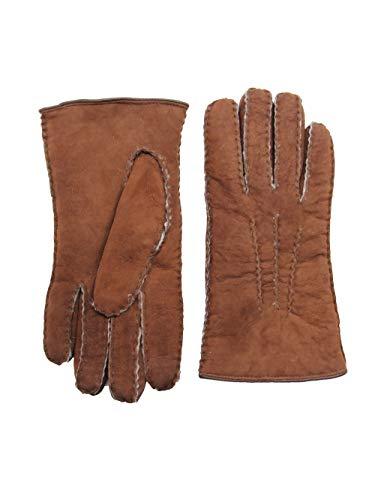 YISEVEN Damen Curly Shearling Handschuhe Neuseeland Lammfell Handarbeit mit Warm Gefüttert Elegant Winter Autofahrer LederHandschuhe, Erdbraun S
