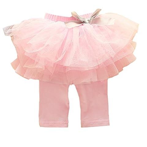 Loveble Kleinkind Mädchen Spitze Rüsche Hosen Bowknot Tutu Shorts Midi Bottoms Süßigkeiten Farbe Röcke für 0-3 Jahre, Hell-Pink, 2Jahr