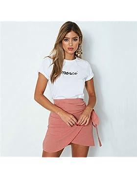 LLS-T-shirt mujer /Slouchy Verano lindo gracioso Tops de manga corta /T Shirt ropa Tops /Mujer Señoras/Manga corta...
