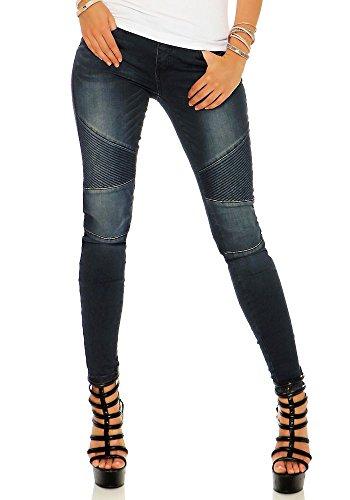 Rock Angel Damen Sweat Jeans Jeggings Hose Sienna LRA-037 skinny Dark Blue