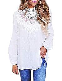 GongzhuMM Dentelle Blouse Femme Lâche Sexy Col Translucide Manche Longue  Tunic Chemisier Femme Hauts T-Shirt Mode Chemise… 976adbdc546f