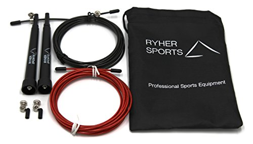 Ryher-Skipping-rope-for-Crossfit-double-unders-fitness-training--jump-rope-with-adjustable-3-m-cable-carrying-bag-free-extra-3-meter-cable-spare-screw-kit-and-rubber-caps-and-exercise-PDF